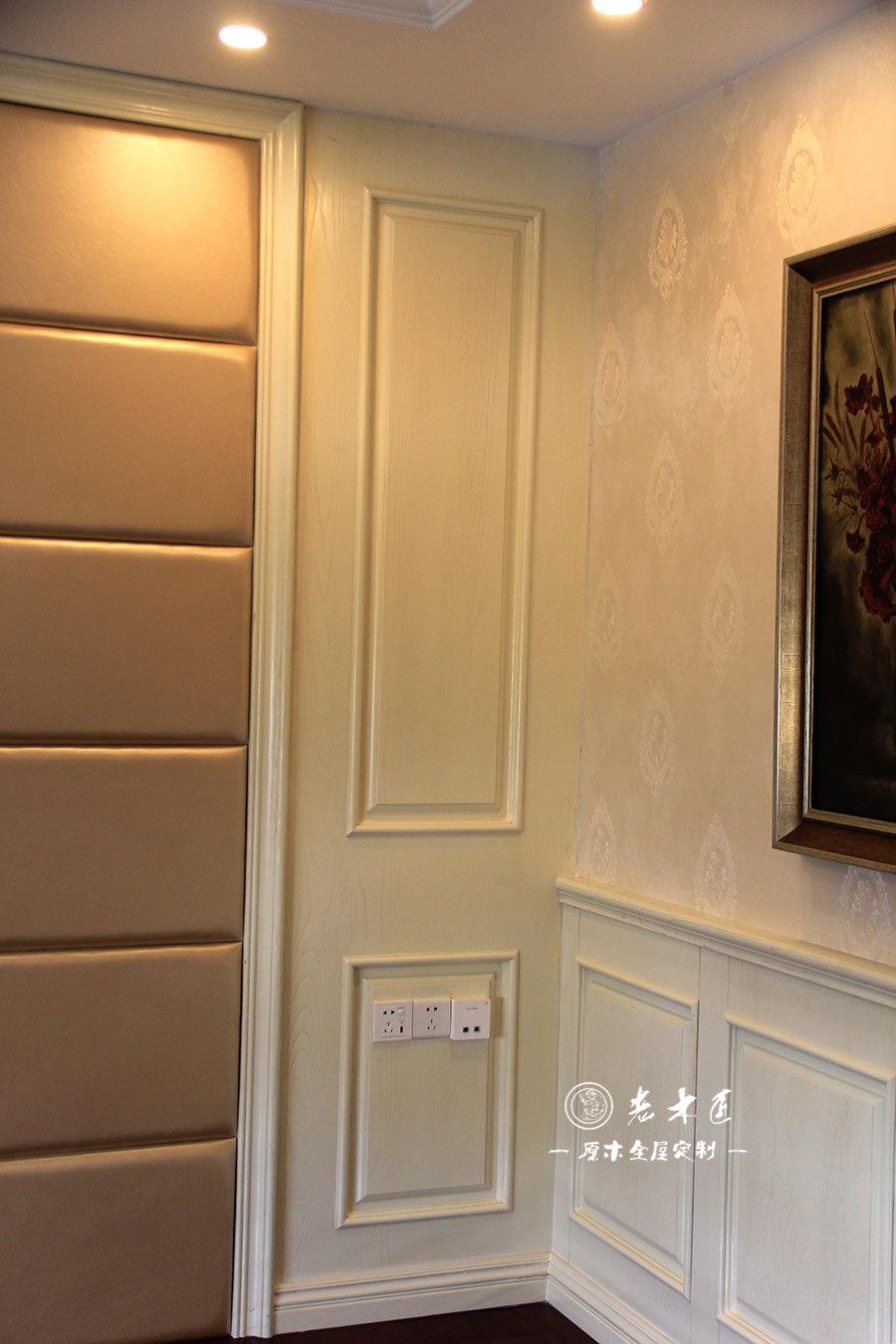 卧室背景墙原木装修效果图