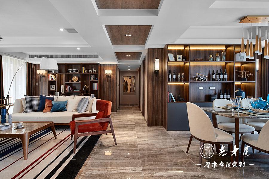 127㎡三室两厅实木轻奢装修效果图,低调褐色轻奢淡雅!