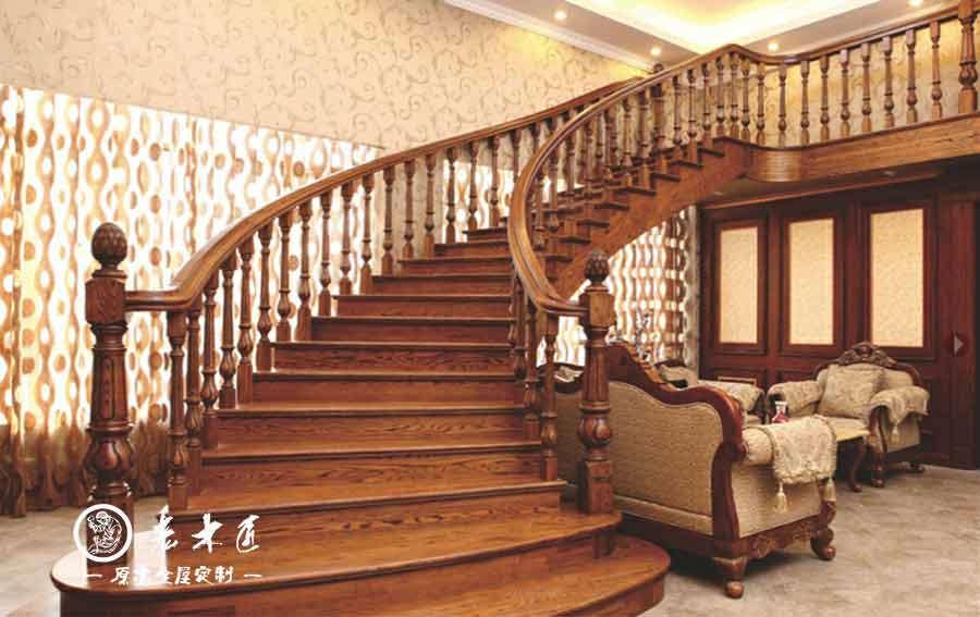 老木匠欧式楼梯定制 室内旋转楼梯价格图片