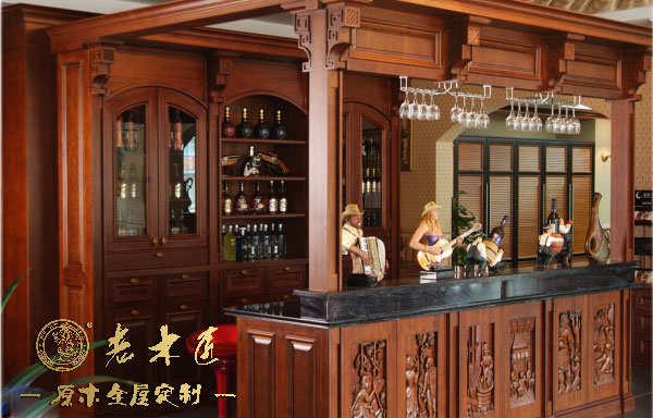 家庭原木吧台酒柜设计
