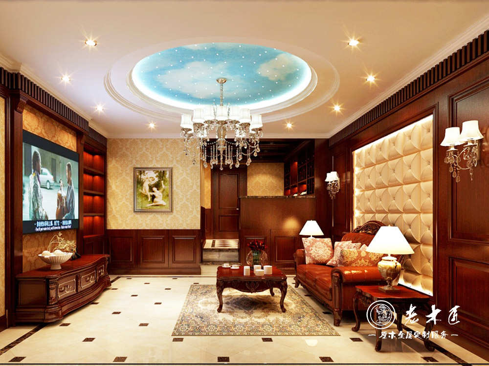 家装客厅电视背景墙定制多种名贵木材精心挑选