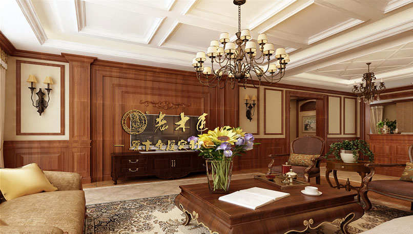 实木客厅背景墙实木柱电视背景墙图片5