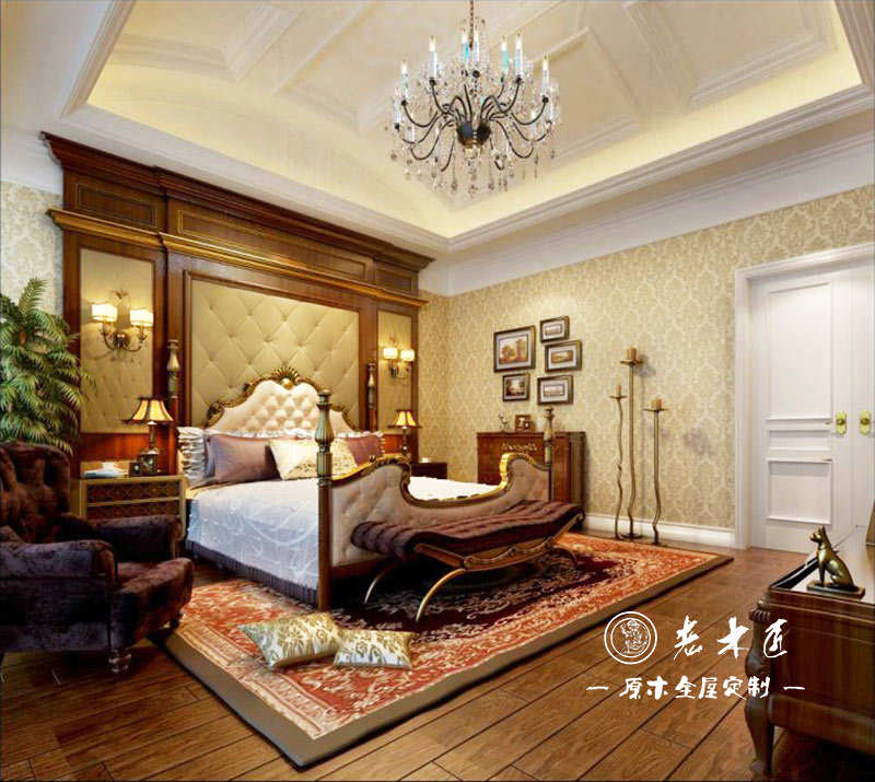 卧室背景墙实木定制图片