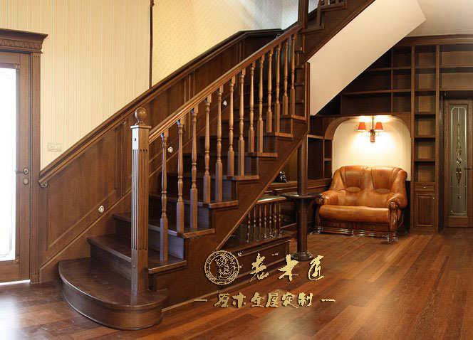 老木匠提供欧式实木楼梯定做效果图,专业定制楼梯护手,楼梯护栏等一