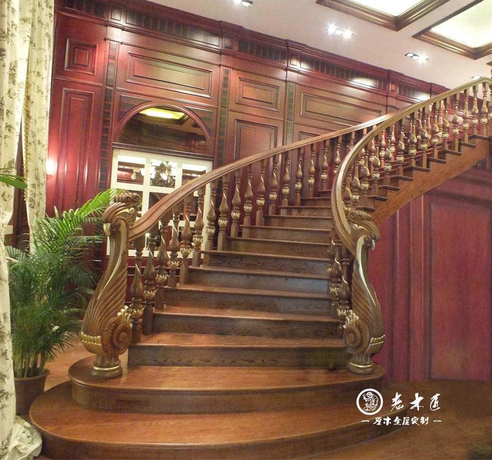 欧式实木楼梯订制厂家老木匠专业楼梯护栏制作和图片