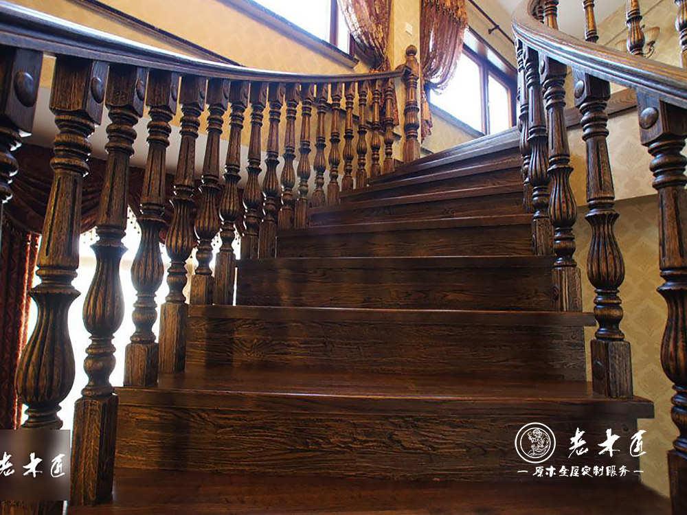 实木楼梯设计材料 室内实木楼梯定制材料