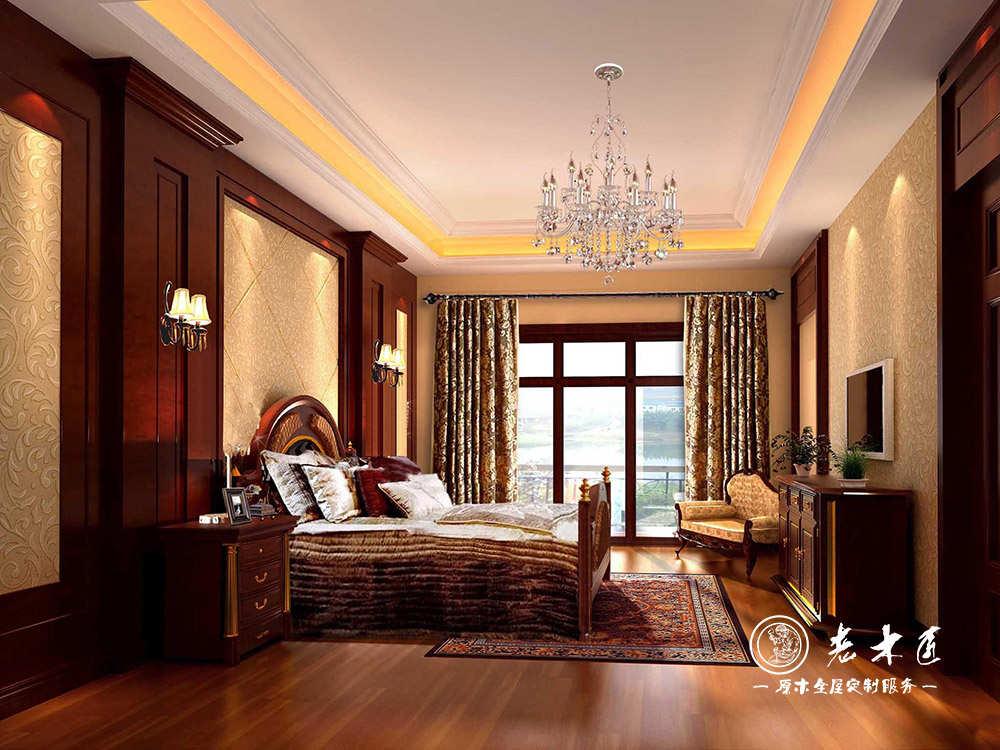 提供欧式卧室床头背景墙效果图,卧室背景墙采用原木制造,倡导绿色环保