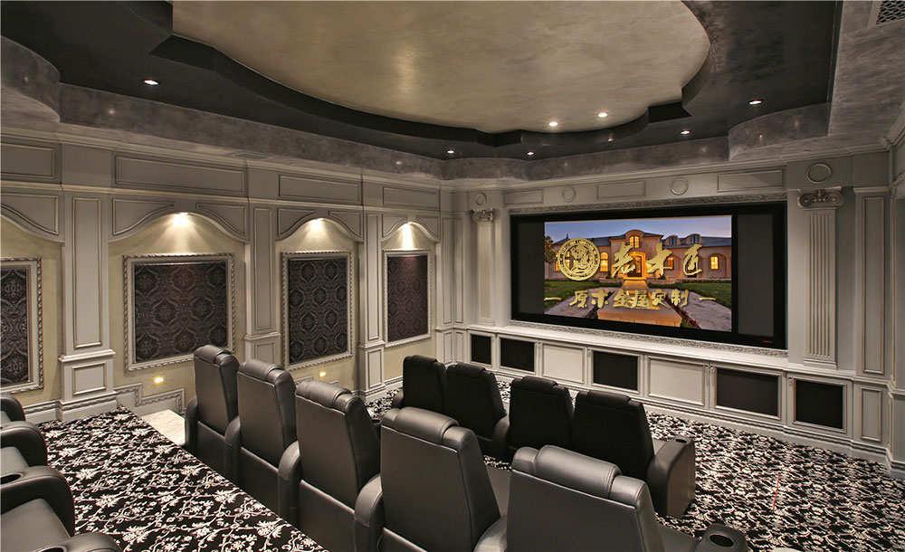 欧式护墙板装修效果图 影视厅护墙板效果图