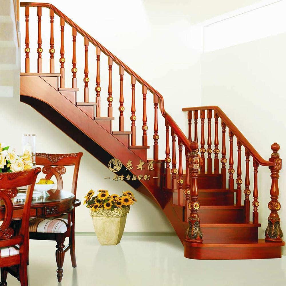 原木楼梯设计图 自建房楼梯设计图