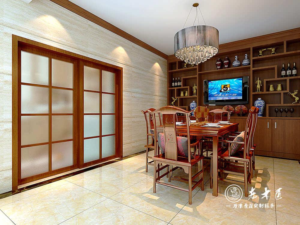 提供新中式餐厅酒柜设计效果图,餐厅原木设计上门量尺,一站式定制原木