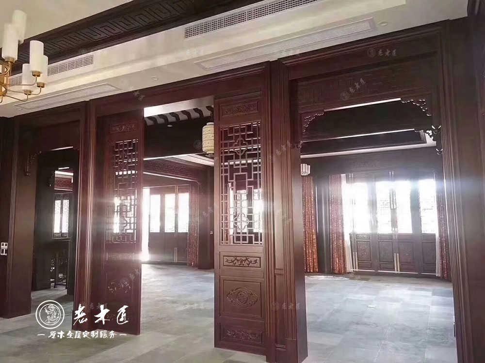 中式别墅原木整装定制案例效果图
