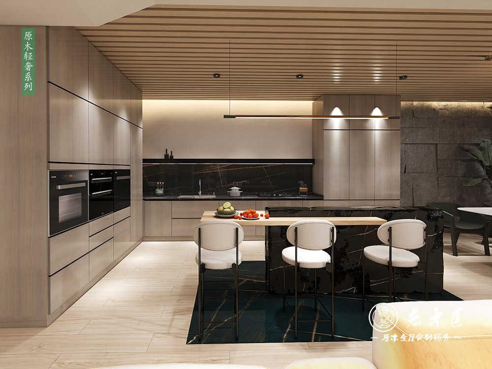 轻奢厨房餐厅设计_开放式厨房餐厅一体